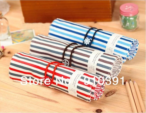 Free ship naval stripe cloth art pen pouch,foldable fashion canvas pencil bag,functional stationery storage bag for students.