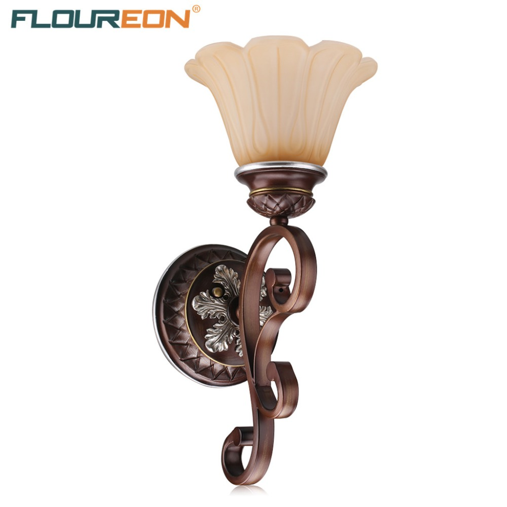 Floureon Retro Wall Lamp 20W~50W E27 Antique Wall Mounted Light Oil Paint Steel Construction Glass Shade(China (Mainland))