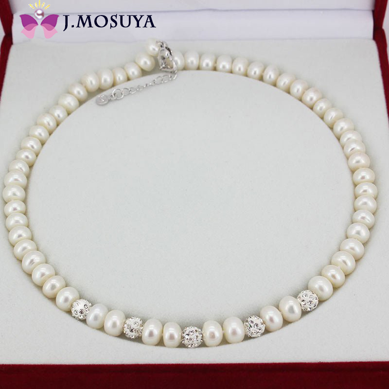 100% Real Natural Pearl Necklace For Women Freshwater Pearl Jewelry Necklace Brand Gift(China (Mainland))