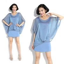 2015New Fashion Women Sexy Faux two Chiffon Dress Ladies Summer Style Batwings Sleeve sheath dress Casual Vestidos plus size(China (Mainland))