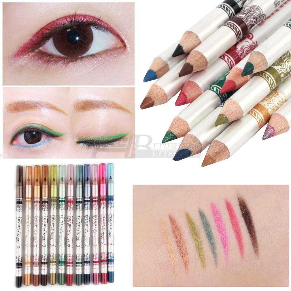 12pcs set High Quality 12 Colors Colorful Waterproof Glitter Emerald Beauty Eyeliner Lipliner Lip Eye Liner