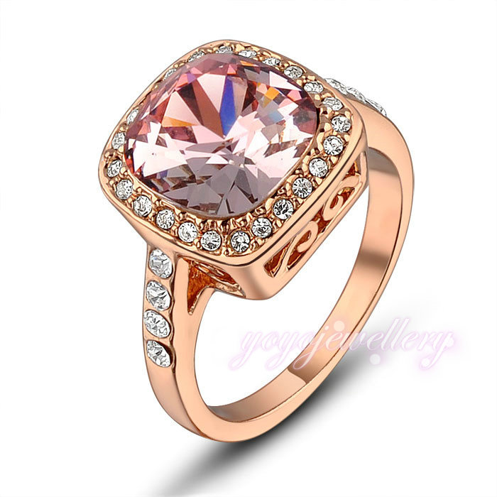 18k Rose Gold CZ square Gem Round Cocktail Engagement prom Ring for Female R633