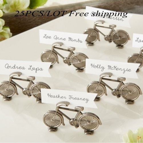 Unique Wedding Gift of Bicycle Place Card Holders For Wedding and Party Favors and guest name holders 25Pcs/lot Free Shipping(China (Mainland))
