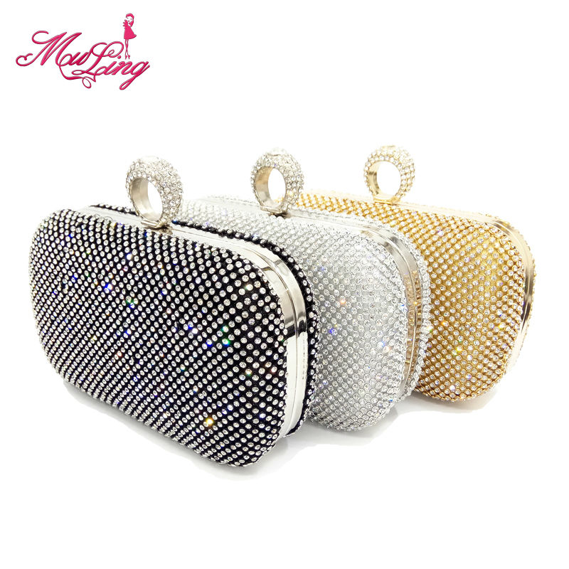 Shining crystal diamond ladies gift box finger through day clutches women evening party handbag bridal wedding wallet purses(China (Mainland))