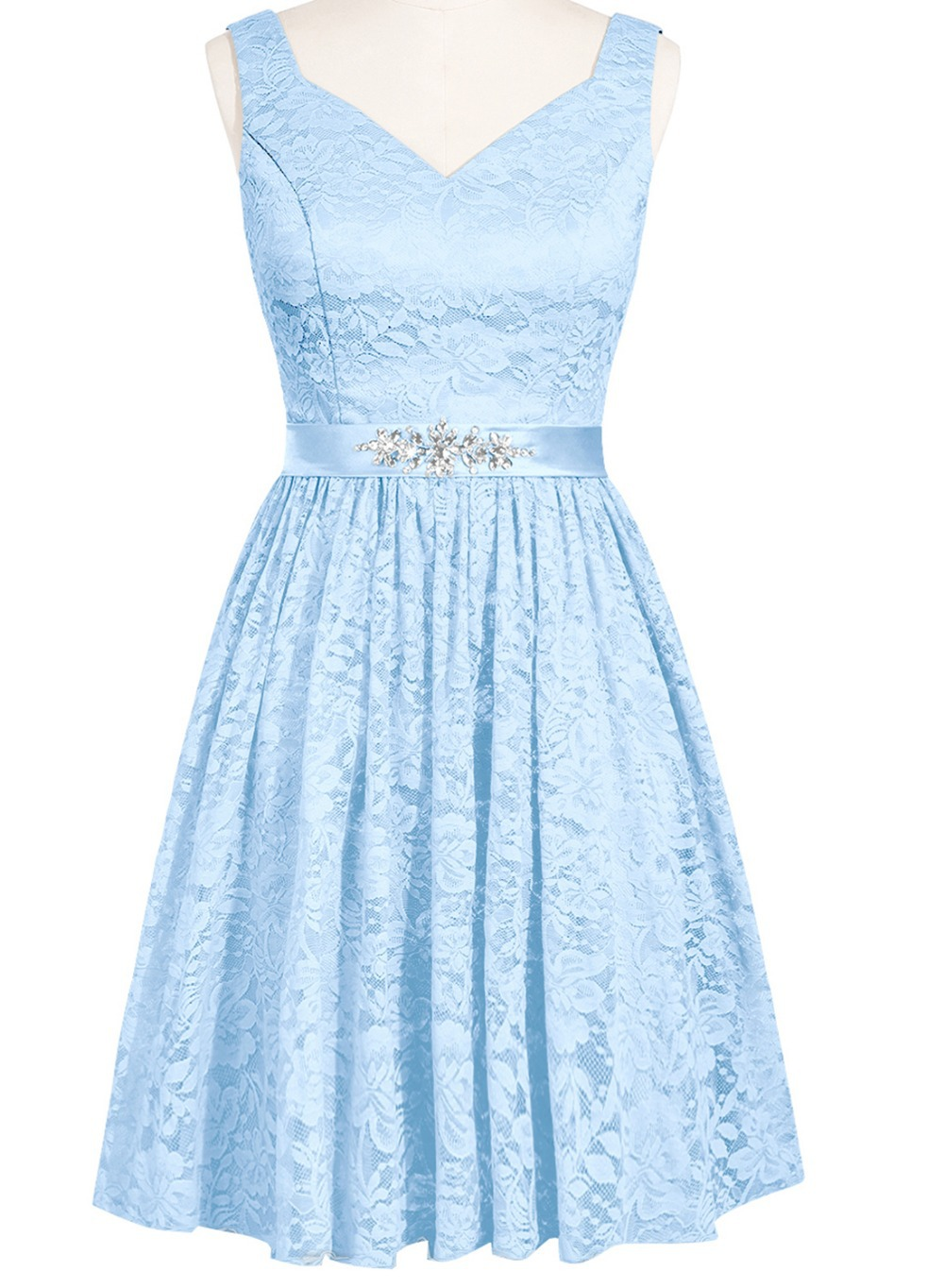 Purple and light blue bridesmaid dresses junoir for Light blue lace wedding dress