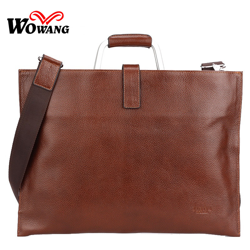 2016 Men's Briefcase 100% Genuine Leather Business Handbag Brand Laptop bag Men Messenger Bag Men Travel Shoulder Crossbody bags(China (Mainland))