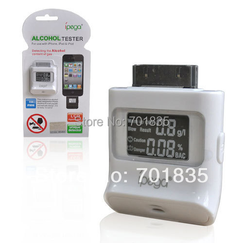 50pcs/lot New LCD Breath Alcohol Tester Digital Accuracy Alcohol Tester Analyzer Alcohol Breathalyzer for iPhone4 4S iPad(China (Mainland))
