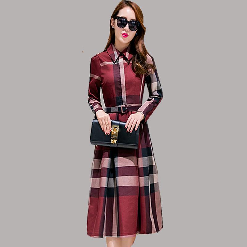 Plus Size 2016 New Spring Fashion Plaid Women's Dress Long Sleeve Office Lady Dresses Vintage Cute 3 colors Vestidos JA422(China (Mainland))