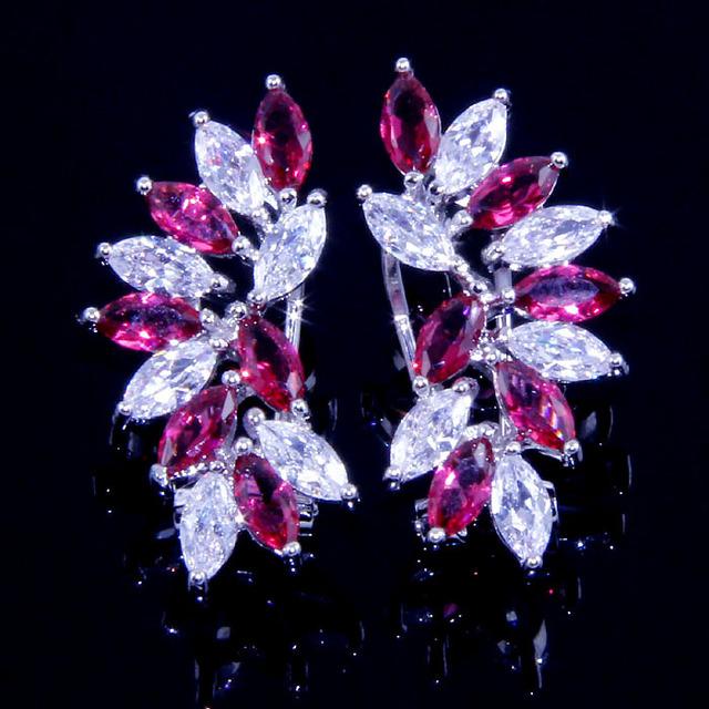Ll2427 серьги ослепительный красный рубин серебро 18 К белого золота ювелирные изделия