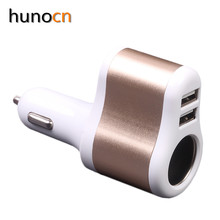 Hunocn 5V3.1A Dual USB Car Charger with Cigarette Lighter Power Socket Adapter fast charger for universal cellphone
