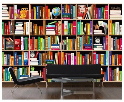 Large bookshelf backdrop mural wallpaper 3d personalized for Bookshelf mural wallpaper
