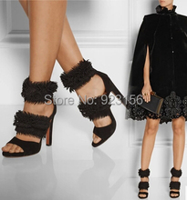 Top brand 2015 discount women fashion black peep toe tassel rough heel simple sexy party dress shoes full grain leather sandals(China (Mainland))