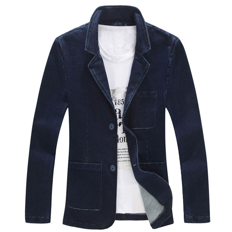 Spring Fall Plus Size 5XL 4XL XXXL Mens Formal Business Suit Collar Denim Blazer Coat Male Slim Fitted Blue Jeans Blazers Coats(China (Mainland))