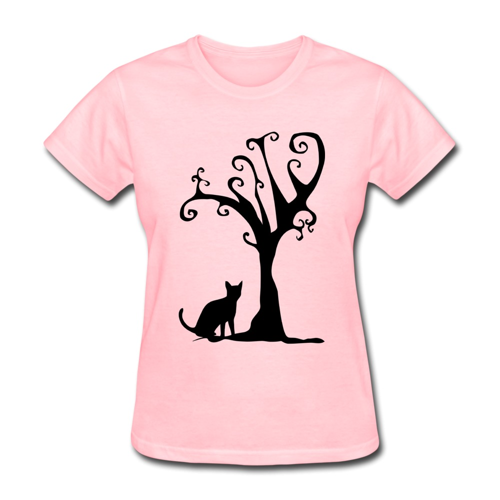 Design Solid Women T Shirt Cat Tree Cute Lover T Shirts