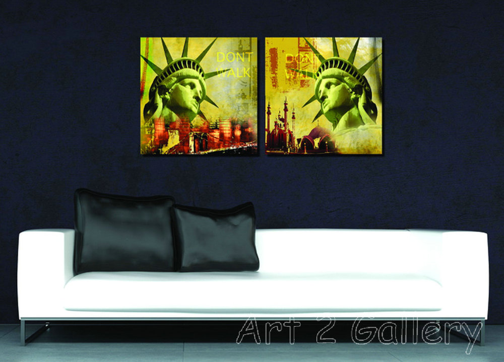 2 Panels Wall Painting USA Poster Decoration Art Picture Print Canvas Prints QL983 40x40cm 50x50cm - gallery Co.,Ltd. store