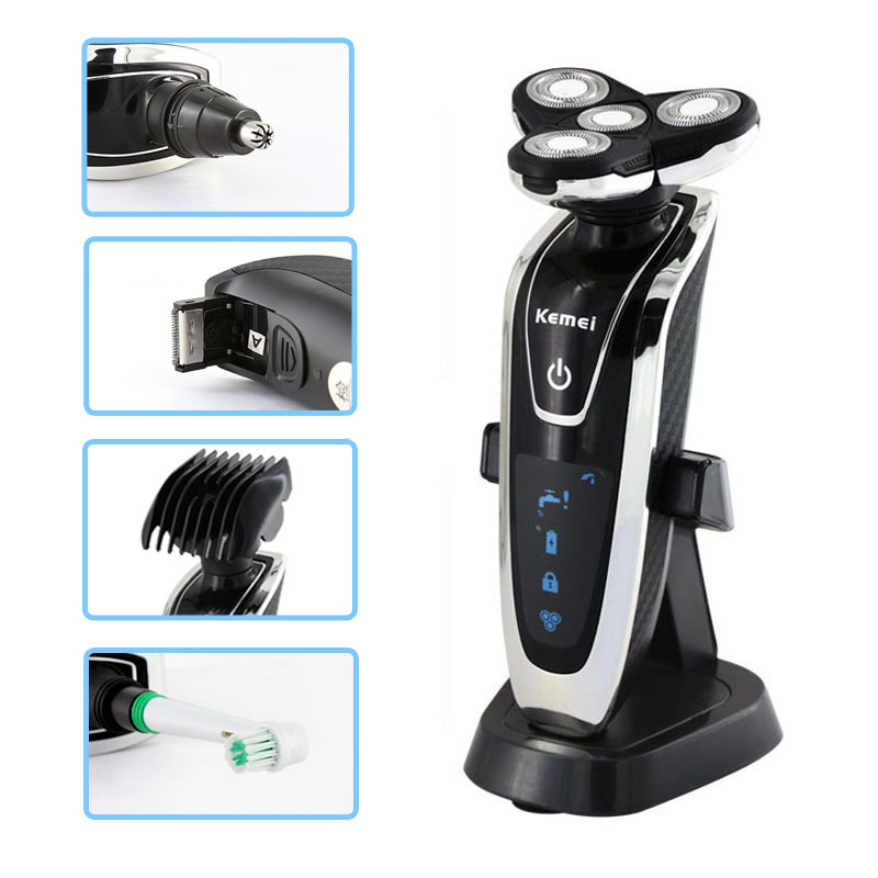Rechargeable 4 1 electric shaver washable trimmer barbeador face beard kemei electric razor men shaving machine groomer