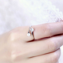 925 Sterling Silver twinkling Double Zircon Rhinestone inlay Opening Adjustable Silver Plated Ring for ladies RING