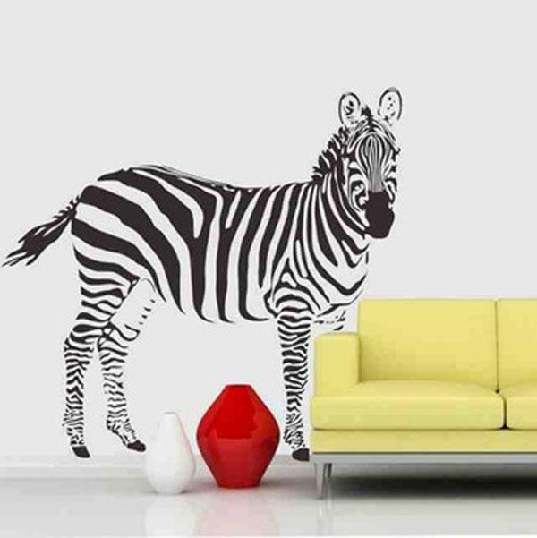 Zebra bedroom vinyl wallpaper diy wall decals zebra for Diy room decor zebra