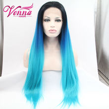 3 Colour Blue Ombre Synthetic Wig Anime Wig Cosplay Hair Wigs Long Straight Perruque Peruca