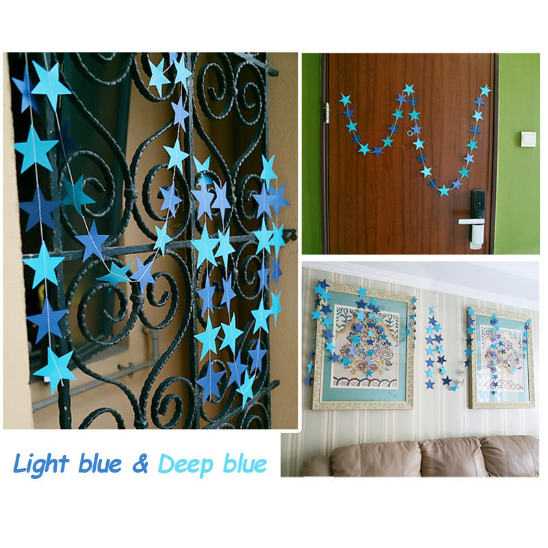 Hot Sale 2016 New Arriavl Star Hanging Paper Garland Wedding Party Ceiling Decor Stars Art Banner Blue(China (Mainland))