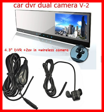 "4.3""car rearview mirror DVR parking camera 2.4 wireless camera/2 AVIN DVD/VCR GPS Video reverse back up camera wireless system(China (Mainland))"