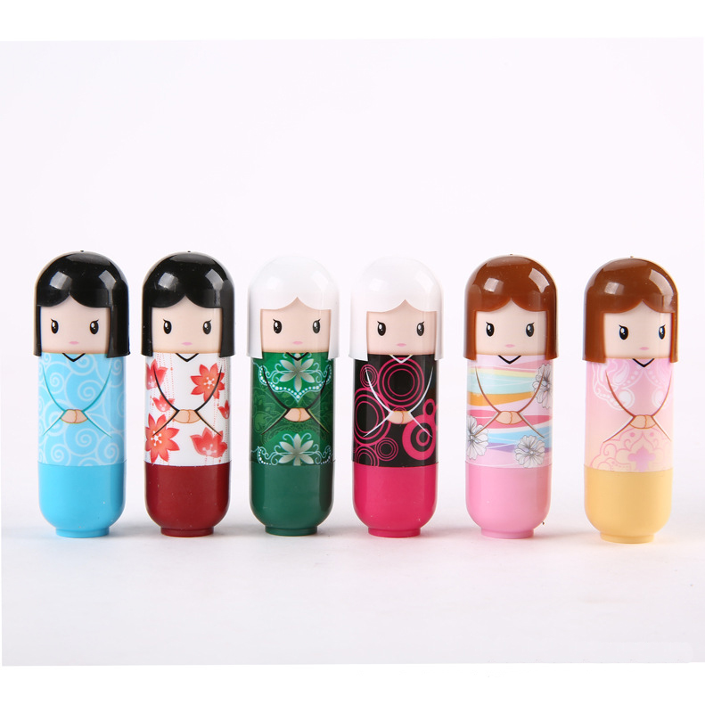 New fruit nature organic lip balm lipstick Cute Cartoon Lip balm kimono doll fruit lip balm nourishing moisturizing repair(China (Mainland))