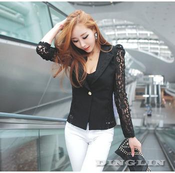 Spring Autumn 2015 Women Blazer Feminino Long Sleeve Lace Floral Slim Casual Work Office Jacket White Black Free Shipping 0956