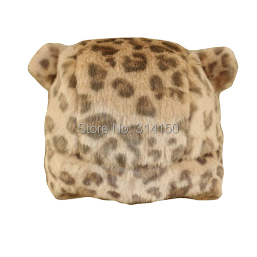 Kid Winter Hats 2016 New Style Fashion Leopard Cat Ear Model Baby Ear Protection Caps Toddler Warm Snow Caps 1pcs free shipping(China (Mainland))