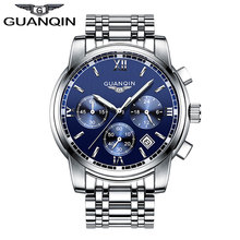 2016 New Luxury Watch Brand GUANQIN Quartz Watch Men Steel Fashion Clock Male Waterproof Watches With Complete Calendar(China (Mainland))