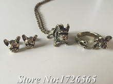 2015 New Style 3Colors Hippie Chic French Bulldog Necklace Boho Complete Set Dogs Best Friends Gift