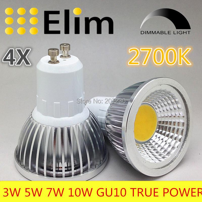 4pcs/lot GU10 COB dimmable 2700K 4500K Warm White 3W 5W 7W 10W LED GU10 lamp bulb light replace the 55w/65w/85w Halogen lamp(China (Mainland))