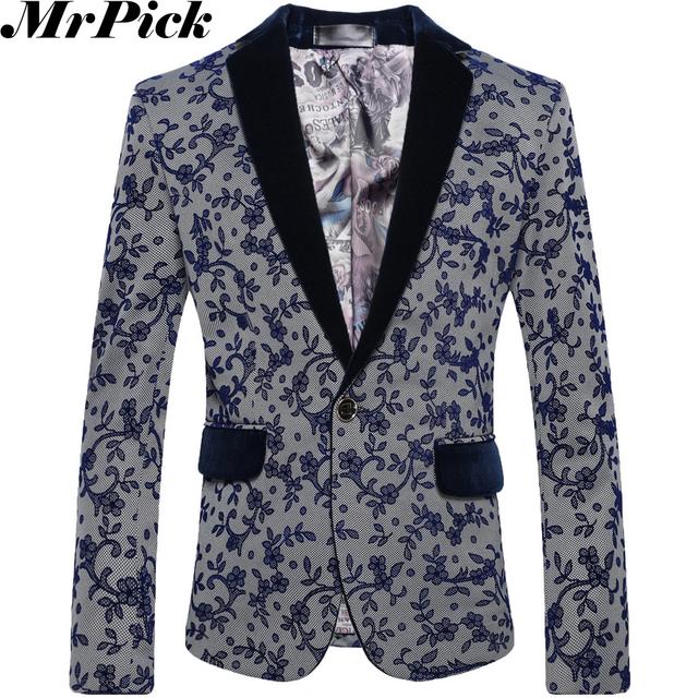 2016 мужчины весна цветочные пиджаки мода свободного покроя Masculino цветок пиджаки ...