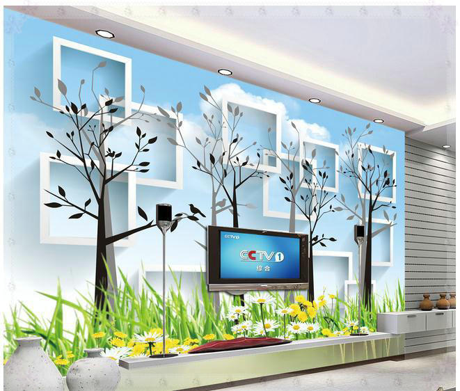 New large wallpaper custom wallpaper simple 3d trees blue for Mural 3d simple