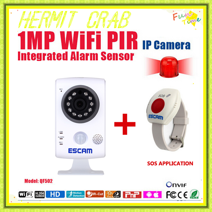 ESCAM QF502 ALARM SYSTEMS WIFI 1.0Megapixel PIR 720P TWO WAY AUDIO IR-CUT MINI HOME SECURITY CAMERA + 1PCS SOS Application(China (Mainland))