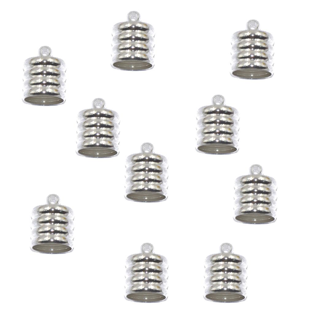 10 латунный наконечник сетки шнур кумигимо для браслет Набор изготовления 10 Brass End Cap Mesh Kumihimo Cord For Bracelet Jewelry DIY Making Silver