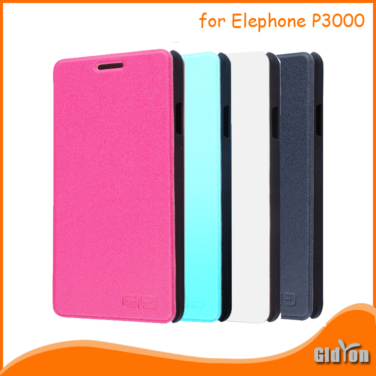 """High quality leather case for Elephone P3000 P3000S flip cover holder for 5.0"""" P3000 smartphone in 4 colors Free Shipping(China (Mainland))"""