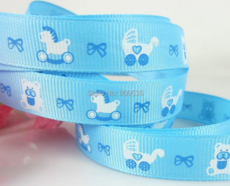 "Free Shipping 100yards 5/8"" 15mm Ribbon Printed Ribbon Grosgrain Baby Carriage Bear Horse For Craft /Packaging(China (Mainland))"