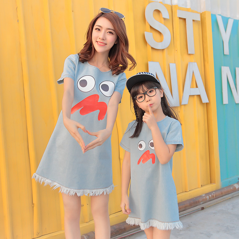 Free ship 2016 summer new family set matching mother and daughter dresses clothes washed denim dress roupa mae e filha(China (Mainland))
