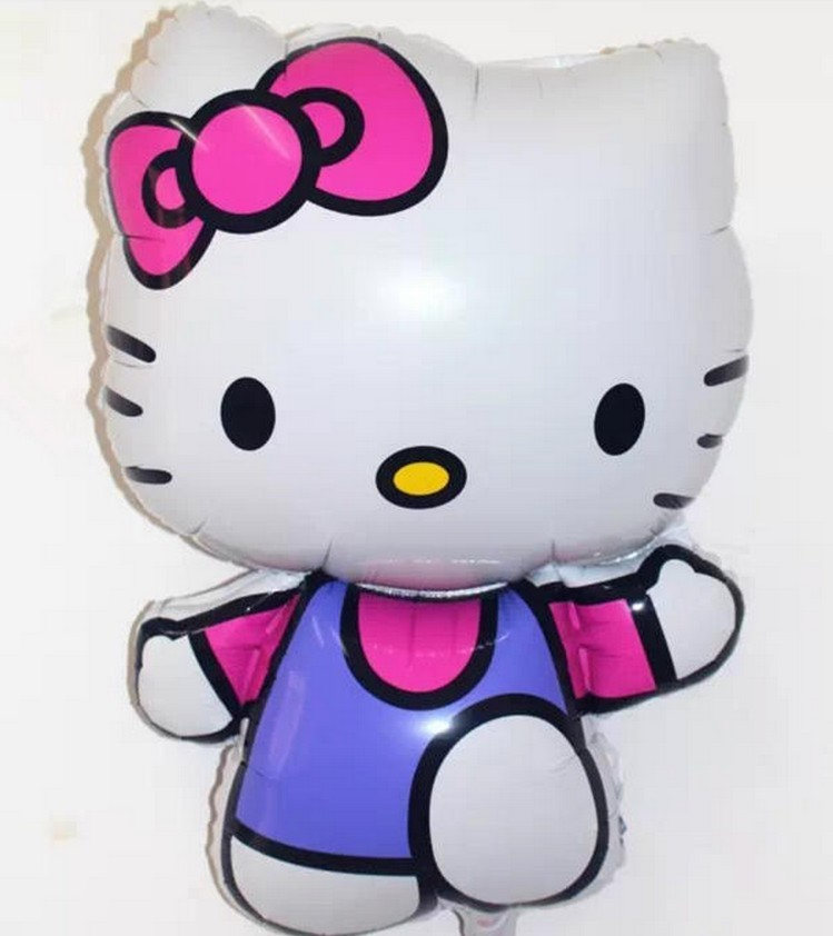 Blue Vest Hello Kitty Cat Foil Balloons Cartoon Birthday Decoration Wedding Party Inflatable Air Balloons Classic Toys(China (Mainland))