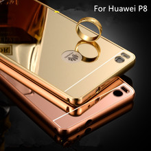 Hot Sale For Huawei P8 Case Luxury Mirror Metal Aluminum+Acrylic Hard Back Cover Phone fundas For huawei p8 5.2 Accessory Capa
