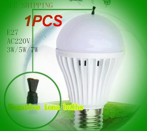 FreeShip Negative oxygen ions LED Lamp LED E27 Bulb Led Bulb Light 3W 5W 7W 220V Wholesale Cold Warm White Led Spotlight Lamps(China (Mainland))
