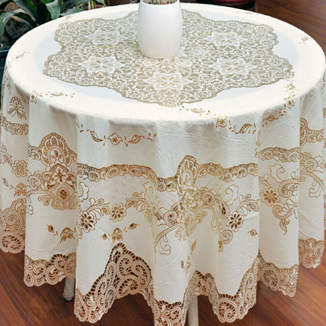 European Simple Gold Sequin Tablecloth Overlay Tablecloths For Wedding Crochet Lace Round Tablecloth Nappe De Table PVC(China (Mainland))