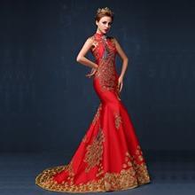 2016 Luxury Red Embroidered Chinese Evening Dress Long Cheongsam Bride Wedding Qipao Mermaid Host Dresses Oriental Qi Pao
