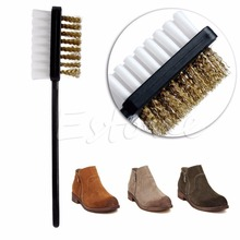 New B Shape 2 Side Shoe Cleaning Brush Suede Nubuck Boot Shoes Cleaner(China (Mainland))