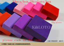 24colors /set/box with tools Colorful Soft Polymer Modelling Clay good package Need to cook in the oven(China (Mainland))