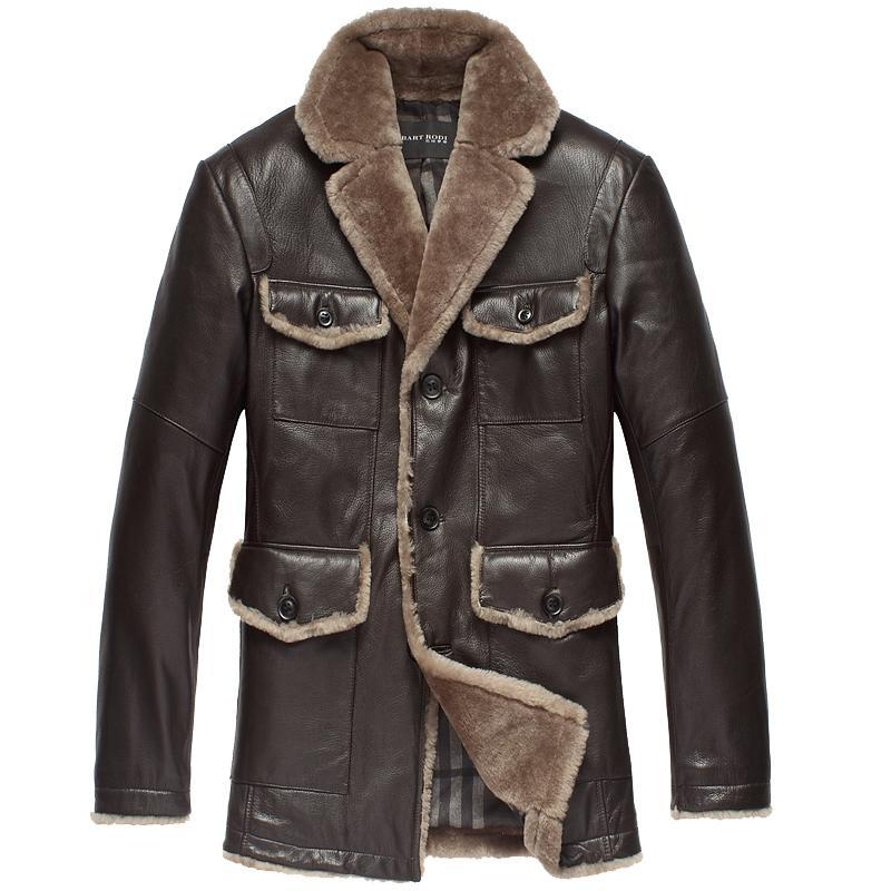 Brand-Mens-genuine-leather-Down-Jacket-Winter-Men-Fur-Coat ...