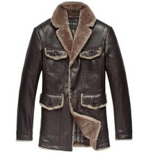 Brand Mens genuine leather Down Jacket Winter Men Fur Coat Sheepskin Overcoat Outdoor 2013 fashion casual Clothing Slim Fit S293(China (Mainland))