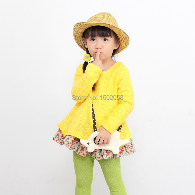 Free Shipping 2015 NEW arrival girls dress Casual Printed Knit Dress faux twinset design children's dress vestidos BY5-168(China (Mainland))