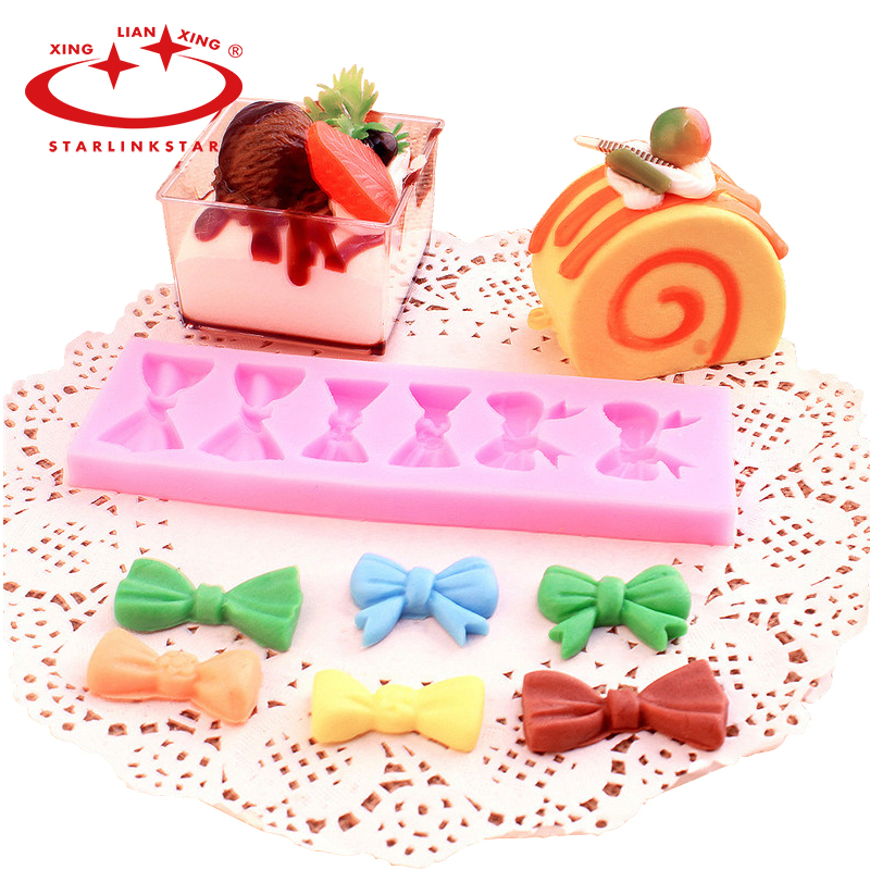 1PCS 3D 3 Kinds Of Bow Tie Shape Silicone Cake Soap Mold Mould silicone baking forms cake decorating tools(China (Mainland))