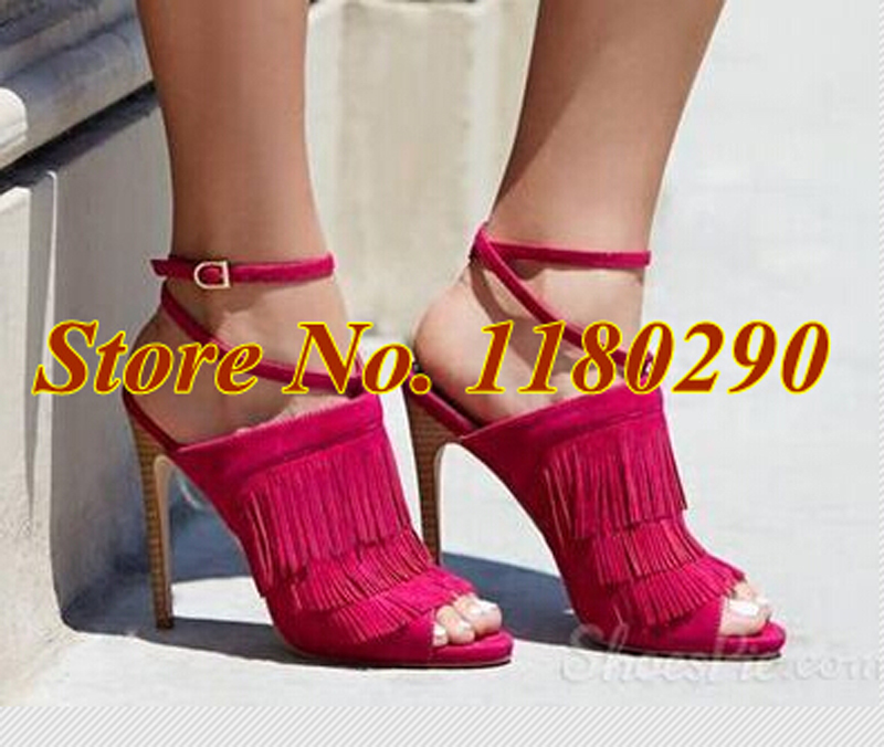 2015 Summer New Fashion Women Peep Toe Pink Suede Leather Tassels Pumps Ankle Strap Gladiator Sandals Dress Shoes<br><br>Aliexpress